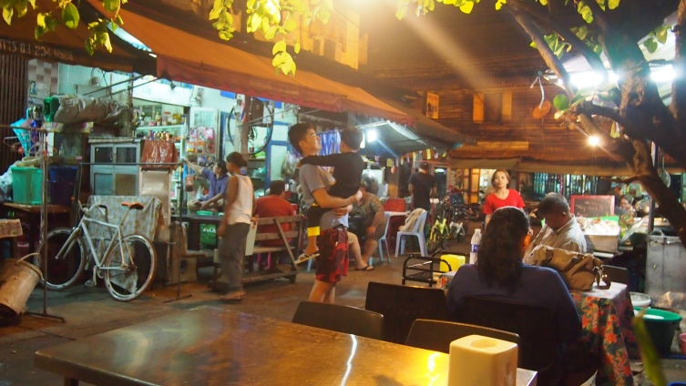 These kinds of establishments were the best places to eat! Stainless steel tables and little plastic chairs = tasty food!